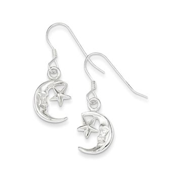 Polished Crescent Moon and Star Dangle Earrings in Sterling Silver