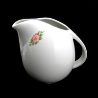 Hall's Rose White Pitcher, 64 oz, Vintage c1940, Large Sani-Grid Jug, Wild Roses with Platinum Trim, Weddings
