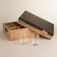 Stemless White Wine Glass 12-Piece Entertaining Set - World Market
