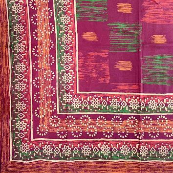 Cotton Block Print Tapestry Tablecloth Spread Twin Full Queen Burgundy Green