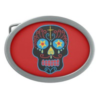 Customizable Black Sugar Skull Belt Buckle