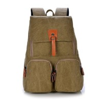 Vere Gloria Men Women School Canvas Backpack Bags, Korean Style Double Shoulder Bag for Middle High Students Teens Boys Girls
