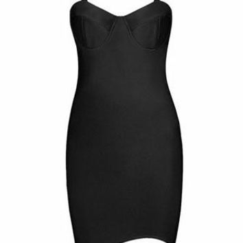 Yours Truly Black Sleeveless Mock Neck Cut Out Sweetheart Bodycon Bandage Mini Dress - Sold Out