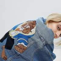 Pull&Bear Oversized Beauty & The Beast Denim Jacket at asos.com