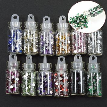 12pcs/sets Crystal 12 Colors Nail Glitter Set Rhinestones Nail Art Tips Sticker Glitter Sparkly Shinning Gem Bottle Sets NC318