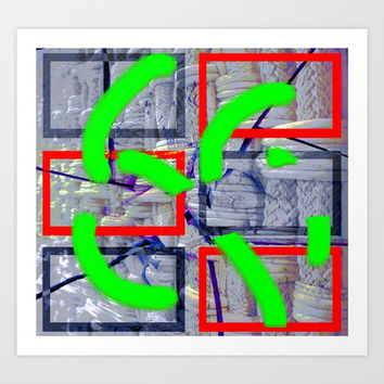 Collage with rope 6 Art Print by Ellen Turner