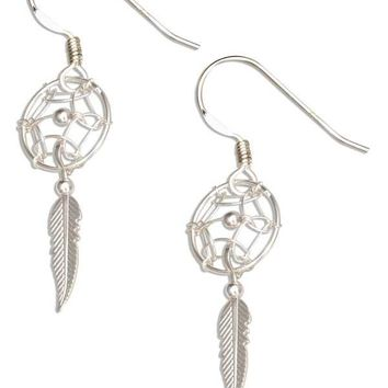 Sterling Silver Small Dreamcatcher Earrings With Feather