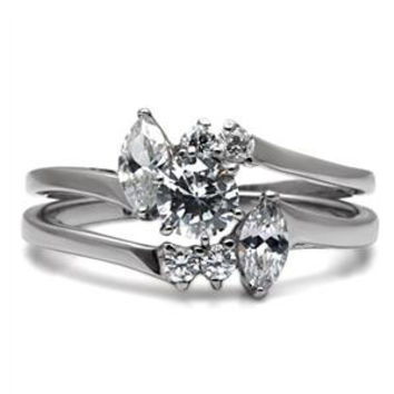 Love Story - FINAL SALE Set Of Two Elegantly Crafted Stainless Steel Wedding Rings with Cubic Zirconia's