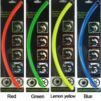"New 18 Strips 14-18"" Motorcycle Car Wheel Tire Stickers Reflective Rim Tape Car Decal Tape Stickers Car Styling accessories"