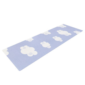 "Heidi Jennings ""Happy Clouds"" White Blue Yoga Mat"