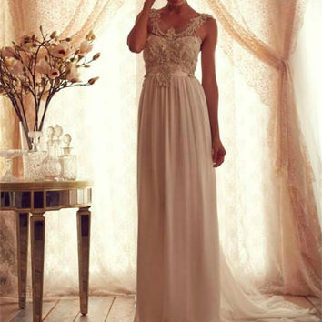Bridal Dress Wedding Dress Chiffon Vintage Beaded Empire Sash patterns vogue robe de mariage  2017