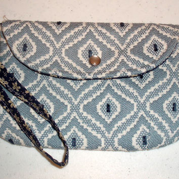 Blue Envelope Clutch Purse, Handmade Art Deco with Wristlet, Fully Lined, Inside Pocket, Pearl Snap, for women, teens & girls