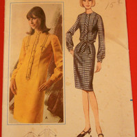 1960s Shift Dress Sewing Pattern Butterick 3788 Sz14 Bust 34 Semi-fitted Step-in