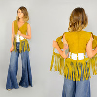Rare 70's Hippie WOODSTOCK Open Caged SUEDE Flower Child Rock N Roll Fringe VEST, small-medium