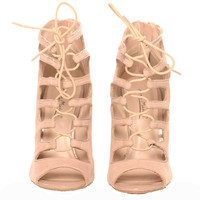 Naked Wardrobe Lace Me Up Nude Booties