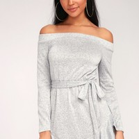 Tell Me You Love Me Heather Grey Off-the-Shoulder Dress