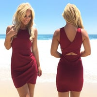 Dreaming Bodycon Dress In Burgundy