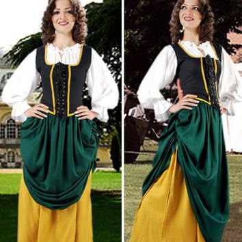 Double Layer Medieval Long Skirt Dark Green Gold