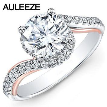14KT White Gold & Rose Gold Twist Luxury Colorless Lab 2 Carat Round Diamond Ring