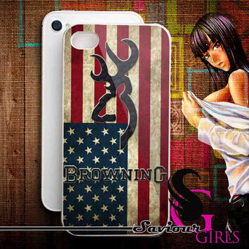 Browning Deer on flag US for iPhone 4/4S, 5/5S, 5C and Samsung Galaxy S3, S4 - Rubber and Plastic Case