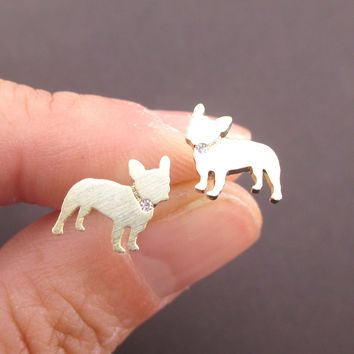 French Bulldog Silhouette with Rhinestone Collar Shaped Stud Earrings in Gold