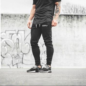 Brand Mens Bodybuilding Pants Casual Joggers men Cotton Trousers Golds muscle guys Professional gyms Fitness Sweatpants