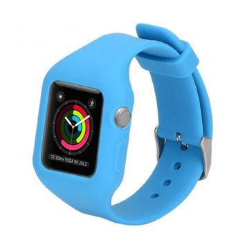 Colorful Band Silicone With Connector Adapter For Ap ple Watch Strap For iWatch Series 1 Series 2 Sports Bracelet 38 42 mm