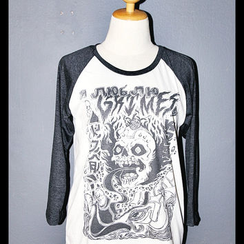 Grimes Visions Shirt 3/4 Sleeve Raglan Baseball Jersey T Shirts Long Sleeved Unisex Body Fit Size XS S