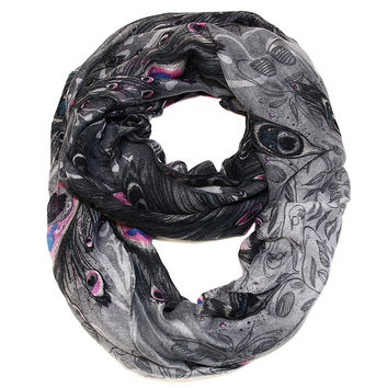Peacock Feather Print Infinity Scarf - Black and MultiColor