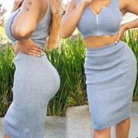 Stylish Sleeveless Zip Up Crop Top + High-Waisted Bodycon Skirt Twinset For Women