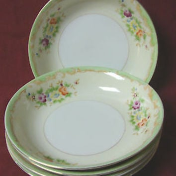 Made In Japan, China Dinnerware Red Circle, Purple, Rose set 5 Coupe soup bowl