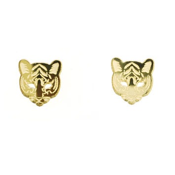 Tiger Head Earrings in Mirror Gold