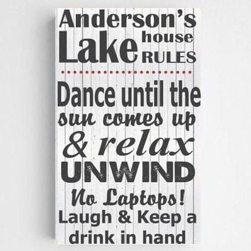 """14""""x24"""" Personalized Lake House Canvas Sign"""