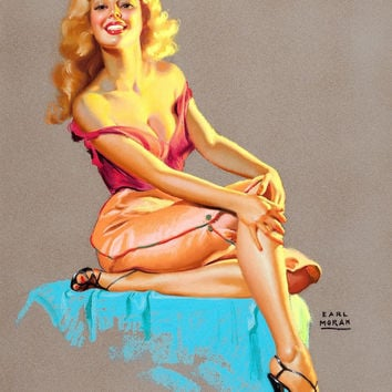 Pin-Up Girl Wall Decal Poster Sticker - Marilyn - Blonde Pinup Pin Up
