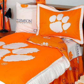 NCAA Clemson Tigers Bed Set Cotton Bedding: Full