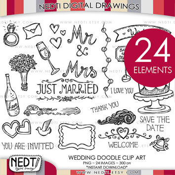 Wedding Love Doodle Clip Art, Valentine, Heart Clipart, Invitation, Digital Images, Instant Download