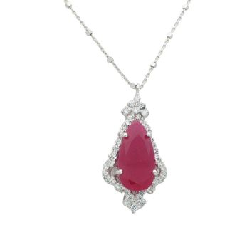 Antique Ruby CZ Pendant Necklace in Sterling