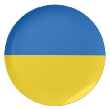 Ukraine Flag on Plate