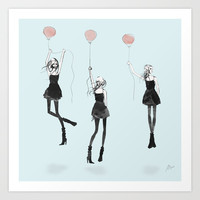 Girls Afloat Art Print by Allison Reich