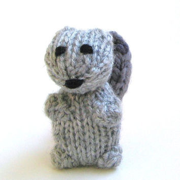 Squirrel Amigurumi - Hand Knitted Miniature Stuffed Animal - Gray Plush Doll - Kids Toy