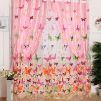 Butterfly Voile Scarf Valance Drape Room Divider Washable Curtain Door Window (Color: Multicolor) = 1957959044