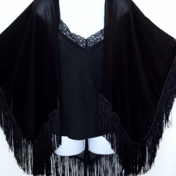 Everyone Needs One Plus Sheer Fringe Kimono Cardigan-Black