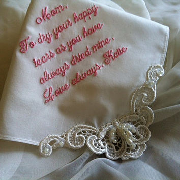 Personalized Ivory Handkerchief for your Wedding, Bride, Mother of Groom & Bride H9501i