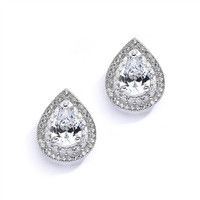 Designer Micro Pave Cubic Zirconia Bridal or Mother of the Bride Earrings 4076E