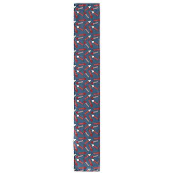 PATRIOTIC FIRECRACKERS ON BLUE PATTERN Table Runner By Northern Whimsy