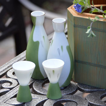 Japanese Seyei Fine China White Moss Green Sake Set 5 Piece Set, 2 Cups, 2 Sake Bottles Cedar Storage Box..Perfect Gift!, Fun & Romantic!!!