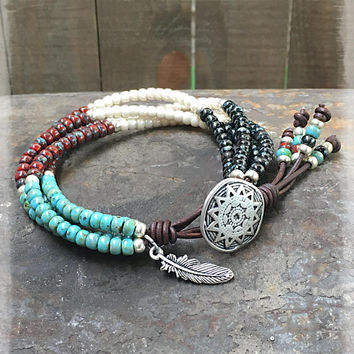 Beaded Wrap Bracelet/ Gift For Her/ Southwestern Leather Wrap Bracelet/ Seed Bead Bracelet/ Native American Wrap Bracelet/ Leather Bracelet.