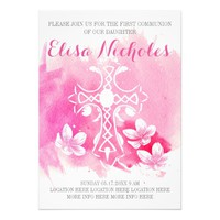 Pink watercolor cross floral First Holy Communion 5x7 Paper Invitation Card