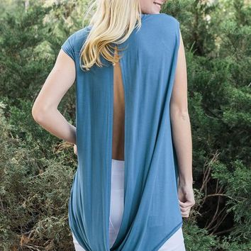 High Low Twisted Fold Back Tunic Top