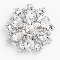 Women's Nina 'Treasure Floral' Crystal Brooch - Silver/ Clear Crystal